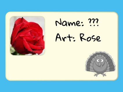 Grafik eines stilisierten Ausweises einer Rose mit unbekanntem Namen