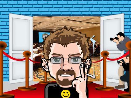 Grafik: Mein Comic-Ich vor einem Eingang auf dem roten Teppich. Daneben Fotografen.
