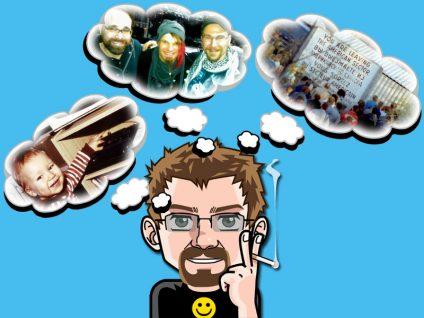 Grafik: Mein Comic-Ich mit drei Gedankenblasen. Darin Bilder aus vergangenen Tagen meines Lebens