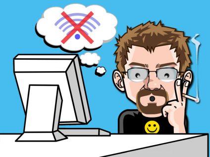 Grafik: Mein Comic-Ich mit weit aufgerissenen Augen und staunendem Gesichtsausdruck vor einem PC. In einer Gedankenblase ein durchgestrichenes W-LAN-Symbol.