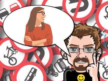 Grafik: Im Hintergrund lauter Verkehrszeichen. Im Vordergrund mein Comic-Ich mit einer Sprechblase. Darin eine Frau, die meine Mutter stilistisch darstellen soll.
