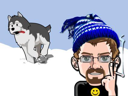 Grafik: Mein Comic-Ich mit herumtollenden Husky in verschneiter Landschaft