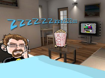 Grafik von meinem Comic-Ich auf der Couch schlafend. Im Fernsehen nur noch ein Testbild.