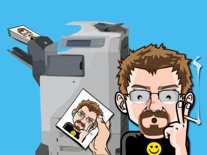 Grafik: Mein Comic-Ich erschrocken. Im Hintergrund ein kopier-Gerät, das Kopien mit meinem Comic-Ich darauf ausspuckt.