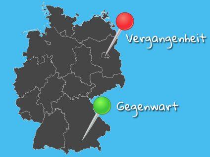Grafik: Landkarte von Deutschland. Ein roter Pin für die Vergangenheit in Berlin, ein grüner für die Gegenwart in München