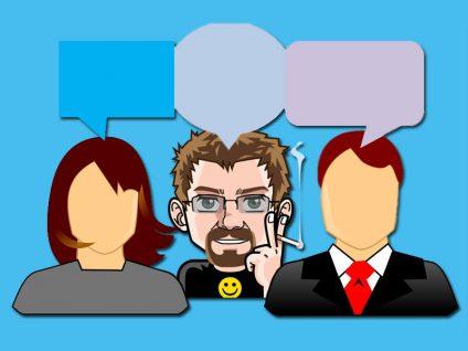 Grafik von meinem Comic-Ich mit zwei Personen und Sprechblasen