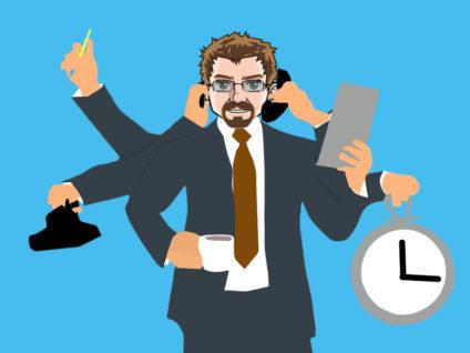 Grafik: Mein Comic-Ich im Anzug mit vielen Armen und gleichzeitig zu handhabenden Gegenständen wie Telefon. Handy und Kaffeetasse