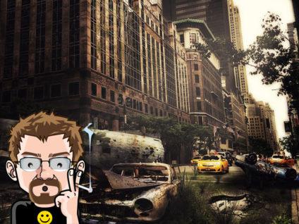 Grafik: Apokalyptisches Bild einer verfallenen, verlassenen und wild bewachsenen Großstadt im Hintergrund. Im Vordergrund mein Comic-Ich mit erstauntem Gesichtsausdruck.