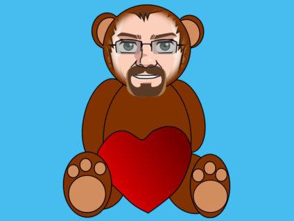 Grafik: Ein Teddy mit dem Gesicht meines Comic-Ich und einem großen Kuschel-Herz zwischen den Beinen.