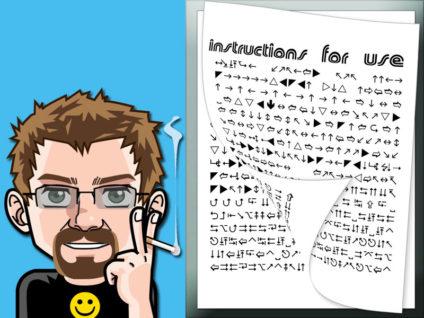 Grafik: Mein Comic-Ich. Daneben eine aus Sonderzeichen bestehende Anleitung.