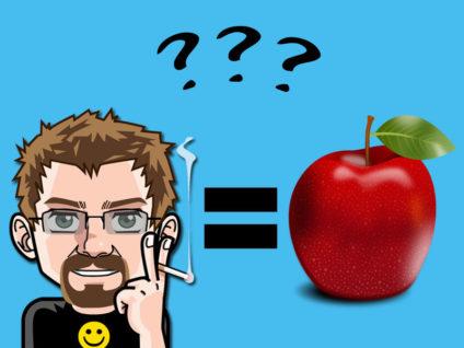Grafik: Links mein Comic-Ich, rechts ein Apfel. Dazwischen ein Gleichheitszeichen und oben drüber schweben drei Fragezeichen.