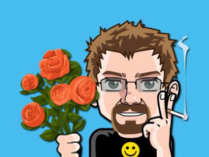 Grafik: Mein Comic-Ich mit einem Strauß Rosen in der Hand