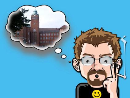 Grafik: Mein Comic-Ich mit einer Gedankenblase. Darin ein Foto meiner einstigen Schule