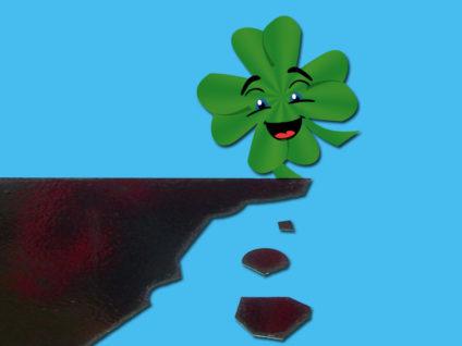 Grafik: Ein lachendes Kleeblatt läuft auf einen Abgrund zu als wäre er gar nicht da