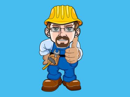 Grafik: Mein Comic-Ich als Bauarbeiter mit Werkzeug am Gürtel und hochgestrecktem Daumen