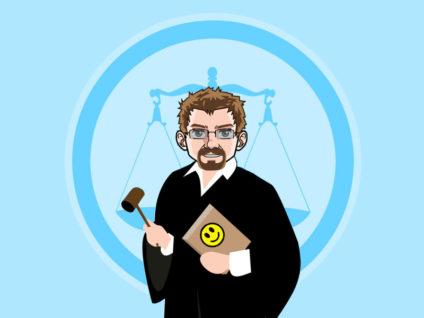 Grafik: Mein Comic-Ich in einer Richter-Robe mit Hammer und Buch in der Hand. Im Hintergrund die Grafik einer Waage.