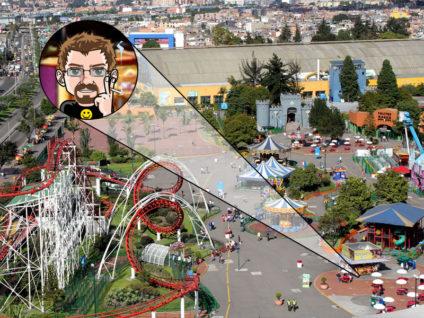 Grafik: Bild eines Rummels mit Achterbahn aus der Vogelperspektive. Per Vergrößerungsgrafik mein Comic-Ich an einem Ess-Stand markiert.