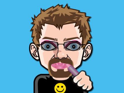 Grafik: Mein Comic-Ich mit jeder Menge Schminke und einer dicken Schicht Lippenstift