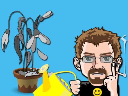 Grafik: Mein Comic-Ich gießt eine ergraute, verdorrte Blume