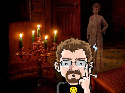 Grafik: Im Hintergrund ein Raum wie aus einem alten Herrenhaus. Darin eine geisterhaft verblasste Dame. Im Vordergrund mein Comic-Ich mit weit aufgerissenen Augen.