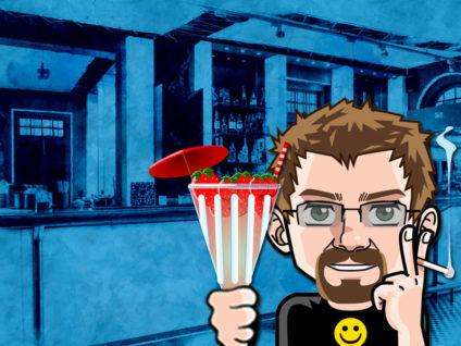 Grafik: Mein Comic-Ich mit einem Cocktail mit Erdbeeren und Schirmchen in der Hand vor dem Hintergrund einer Bar.