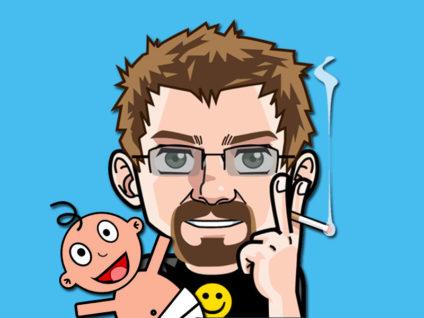 Grafik: Mein Comic-Ich mit einem lachenden Baby im Arm