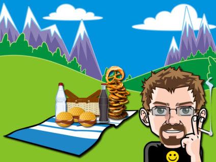 Grafik: Mein Comic-Ich vor einer Wiese mit Picknick-Decke. Im Hintergrund Berge.