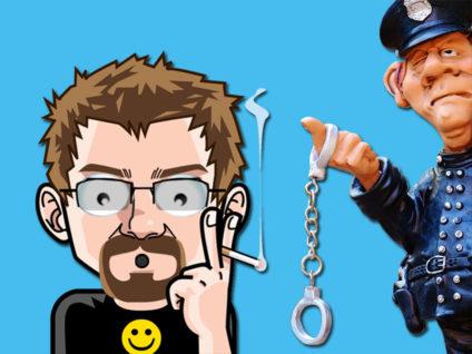 Grafik: Mein Comic-Ich mit erstauntem Gesichtsausdruck. Daneben ein Polizist, der mir am ausgestreckten Finger Handschellen reicht.