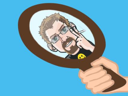 Grafik: Das Spiegelbild meines Comic-Ich in einem Handspiegel
