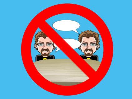 Grafik: Ein Verbotsschild. Darin zweimal mein Comic-Ich mit jeweils einer leeren Sprechblase an einem Tisch.