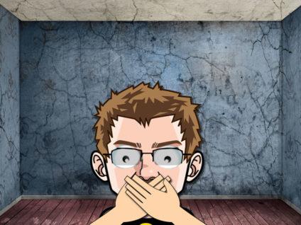 Grafik: Mein Comic-Ich mit weit aufgerissenen Augen und den Händen vor dem Mund in einem düsteren, leeren Raum