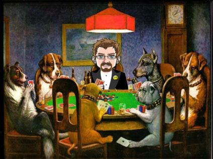 Grafik: Mehrere Hunde sitzen Poker spielend an einem Tisch. Einen Platz davon nimmt mein Comic-Ich ein.