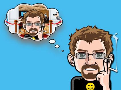 Grafik: Mein Comic-Ich mit einer Gedankenblase. Darin wiederum mein Comic-Ich auf einem roten Teppich mit Presse.