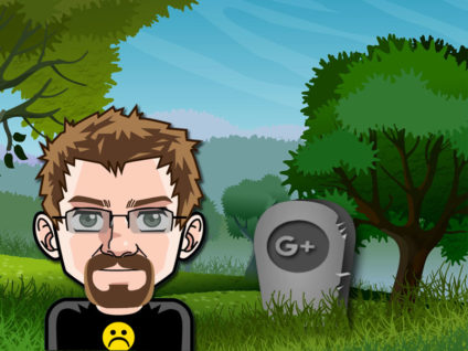 Grafik: Im Hintergrund ein Grabstein für Google+ in einer Landschaft. Davor mein trauriges Comic-Ich.